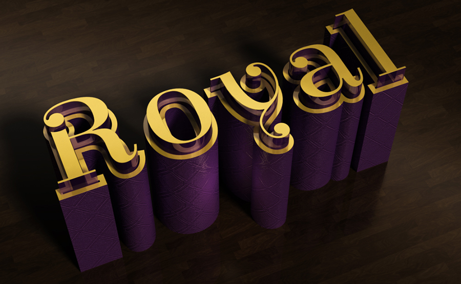 Elegant 3D Text Effect with gold and leather embossed text on a wood background
