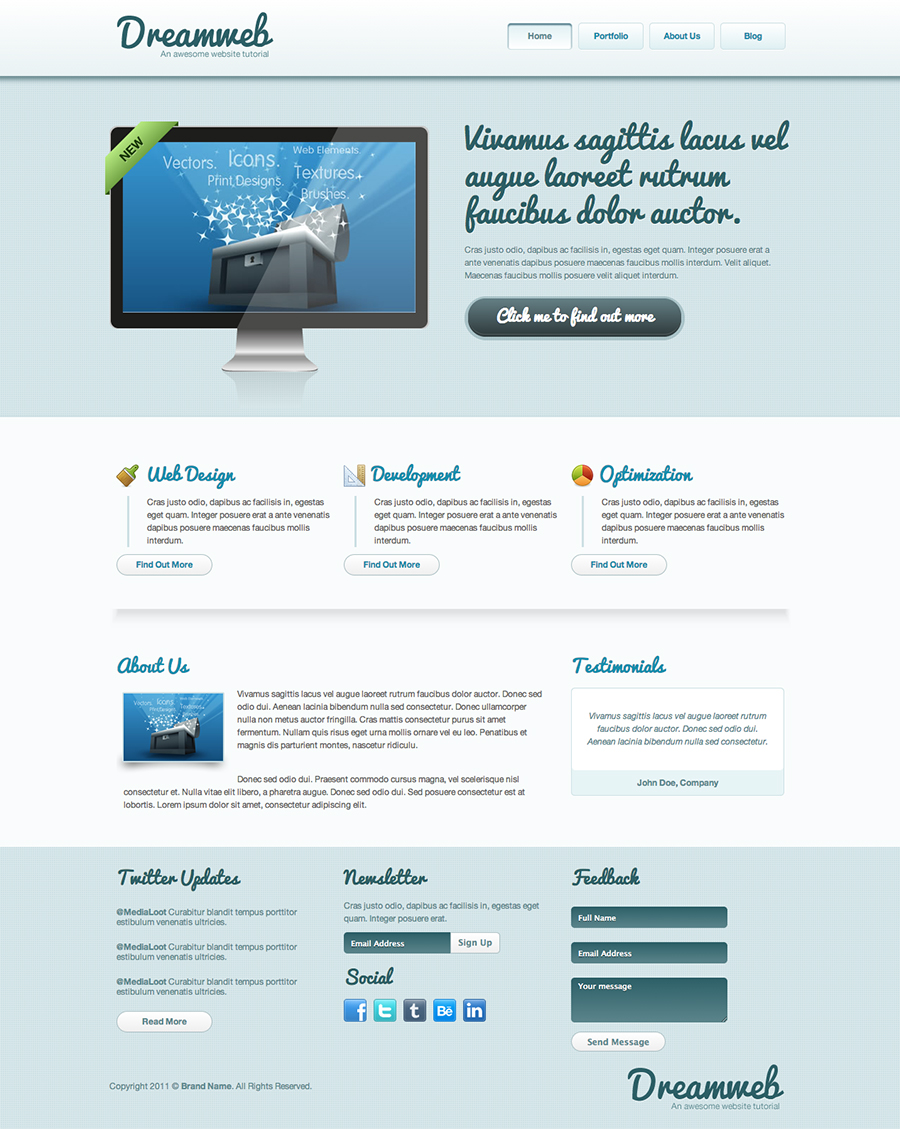 Dreamweb: Homepage Template cleanly designed