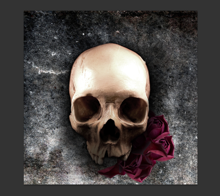 Creating a grunge skull and roses composition for album artwork