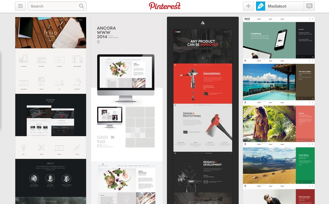 8 best web design inspiration pinterest boards medialoot for Best home decor boards on pinterest