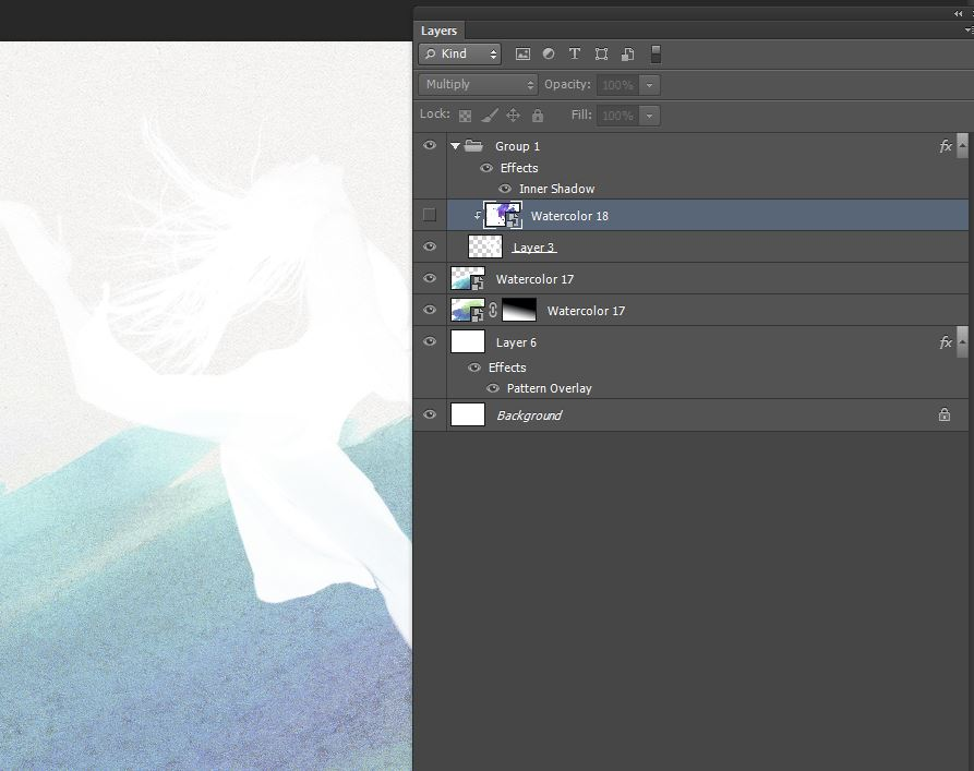 create clipping mask with watercolor and dancers