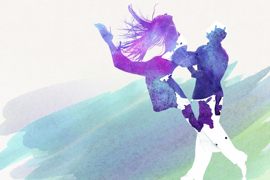 result of clipping mask with watercolor and dancers