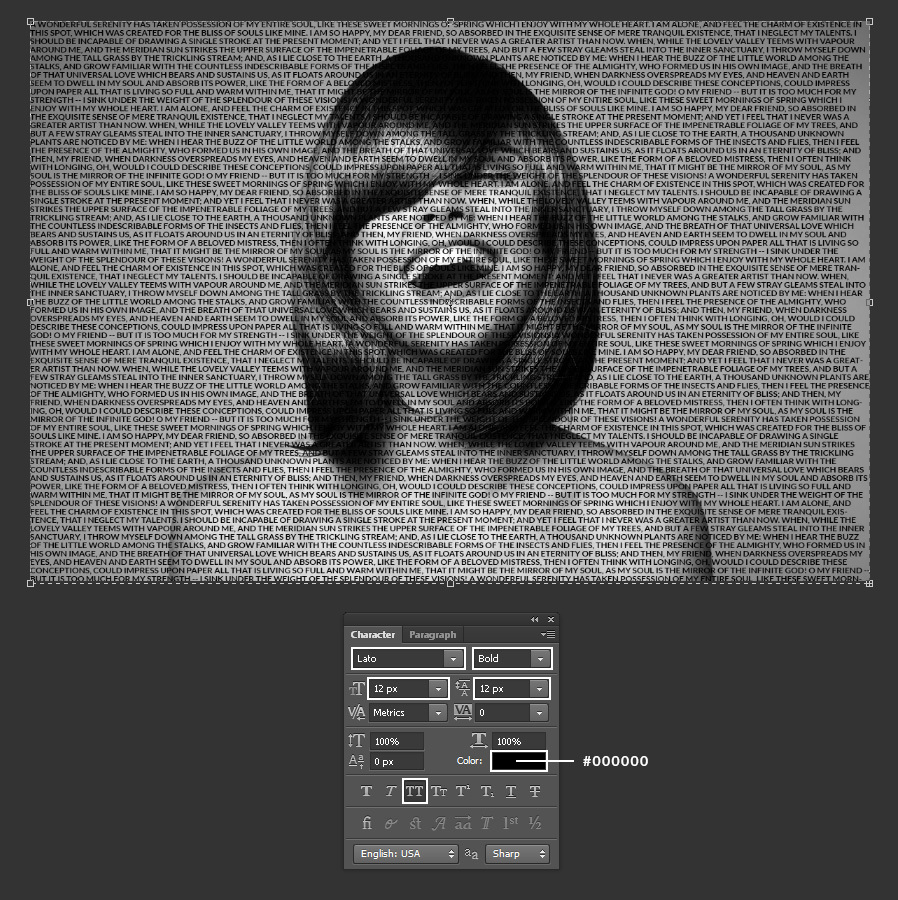 Learn to create a text portrait in Photoshop