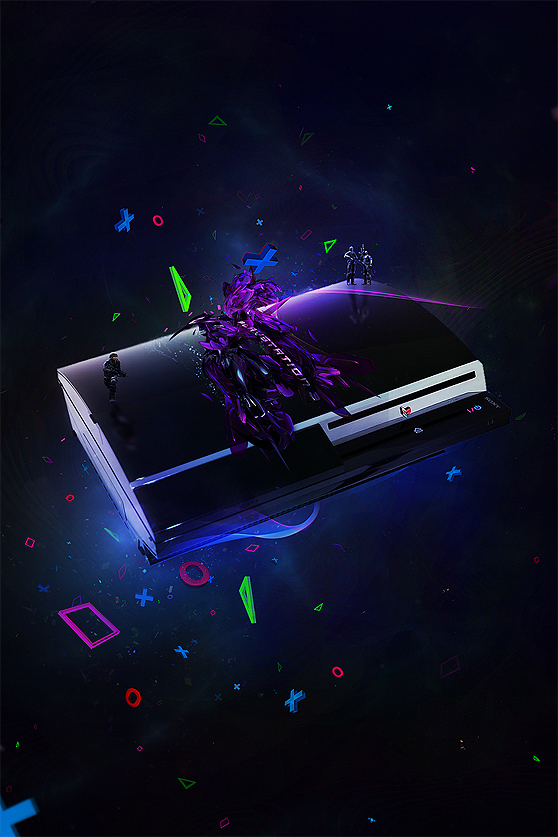 Create a vibrant ad poster for a game console