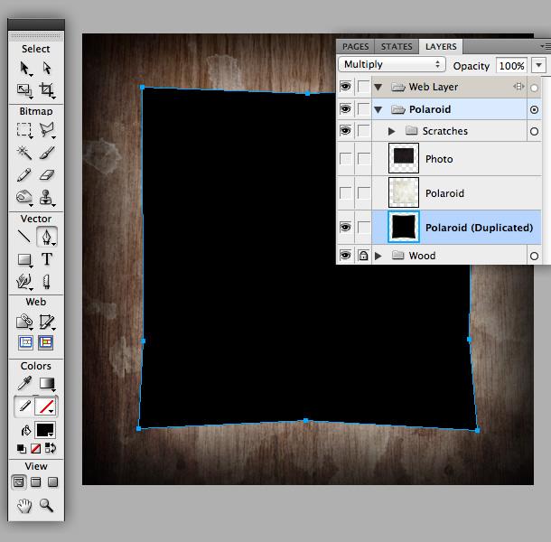 vector grunge polaroid tutorial fireworks
