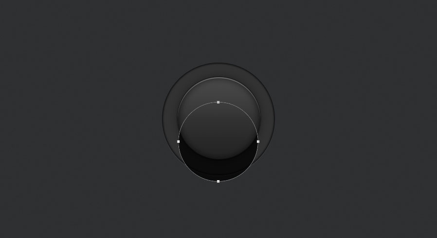 create a large shadow by duplicating the layer shape for the audio knob photoshop tutorial