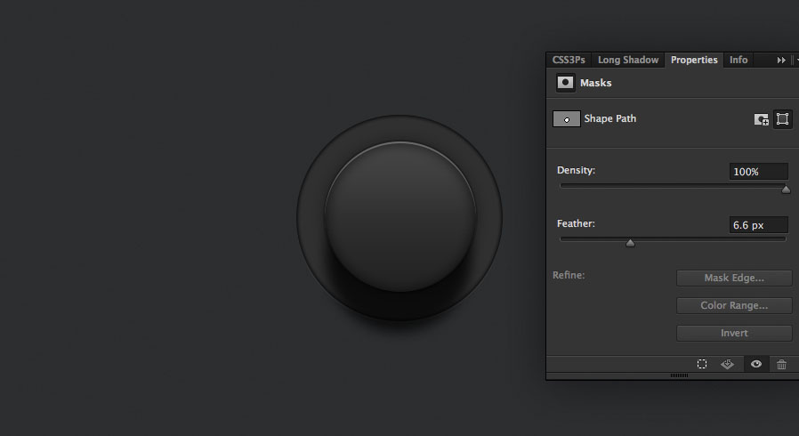 heavily feather the layer for the shadow for the audio knob photoshop tutorial