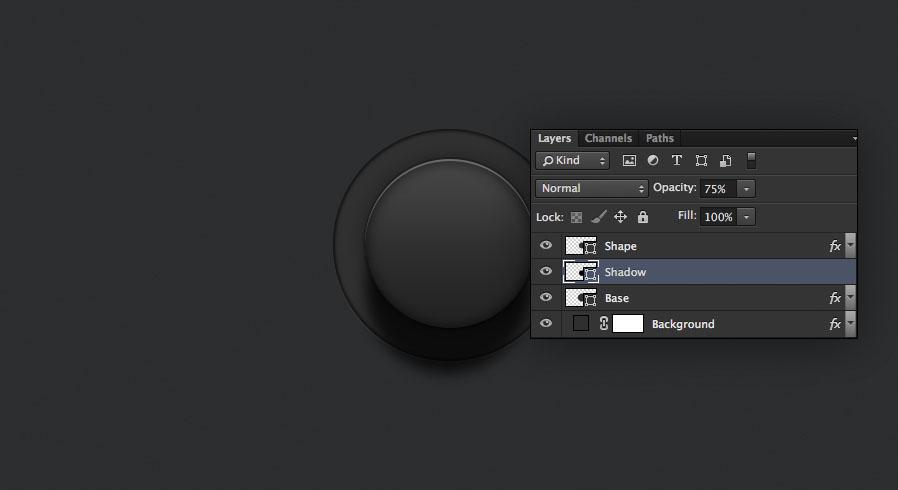 set the deep shadow shape to a lower opacity for the audio knob photoshop tutorial