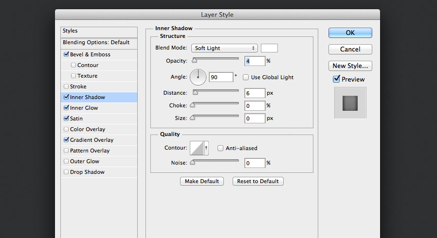 add an inner shadow layer style in soft light for the audio knob photoshop tutorial