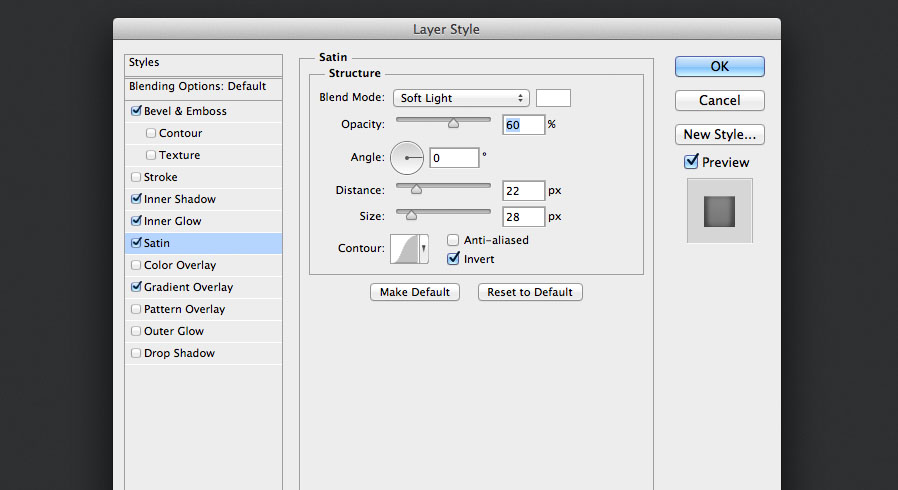add a soft light satin layer style for the audio knob photoshop tutorial