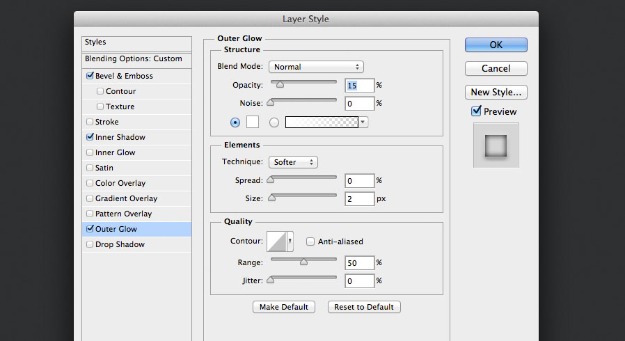 add an outer glow layer style for the audio knob photoshop tutorial