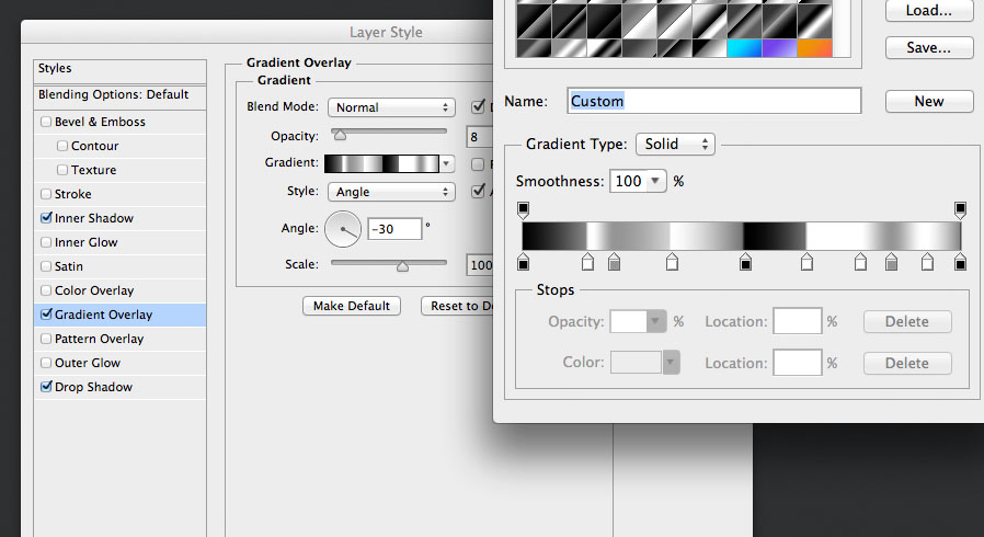 add an important radial gradient overlay layer style for the audio knob photoshop tutorial