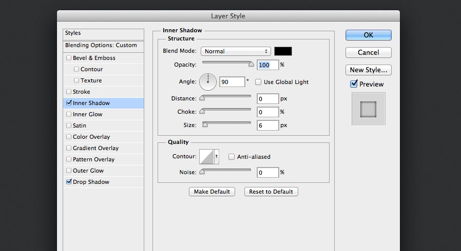 add an inner shadow layer style to the tick mark for the audio knob photoshop tutorial