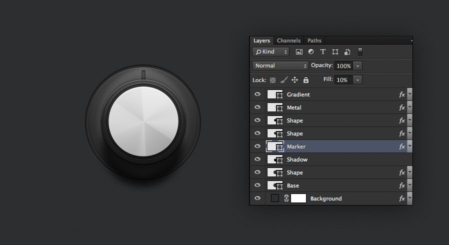 knob is complete with layers in a certain order for the audio knob photoshop tutorial