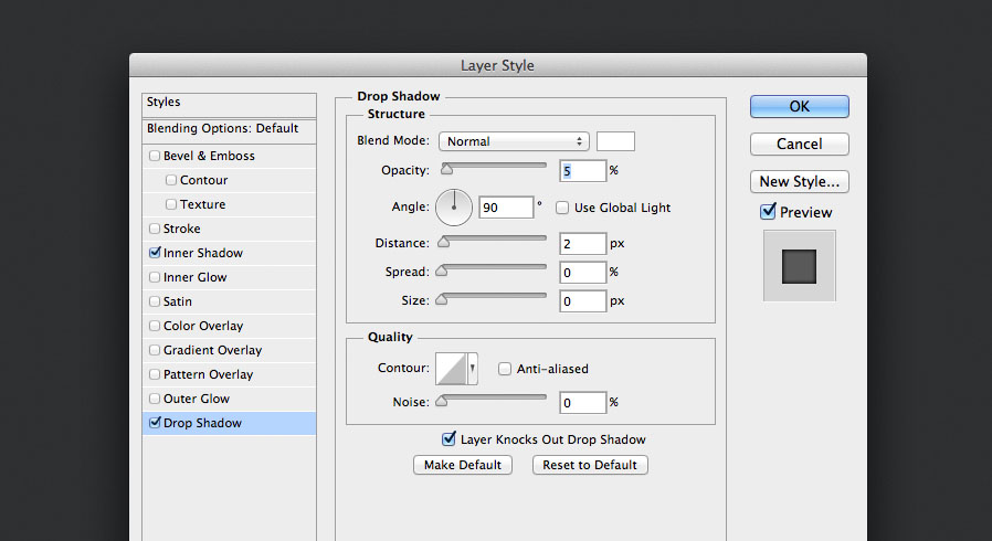 add a drop shadow layer style for the audio knob photoshop tutorial