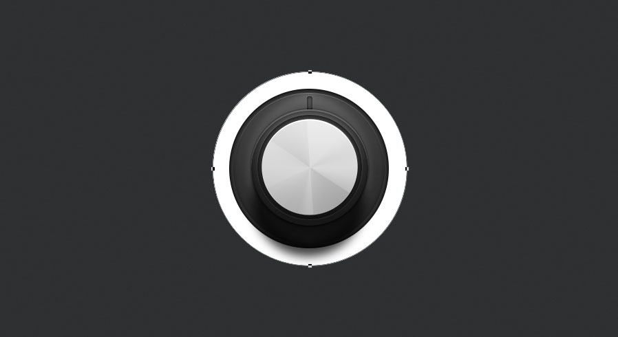 draw a circle for the location of the indicator lights around the knob for the audio knob photoshop tutorial