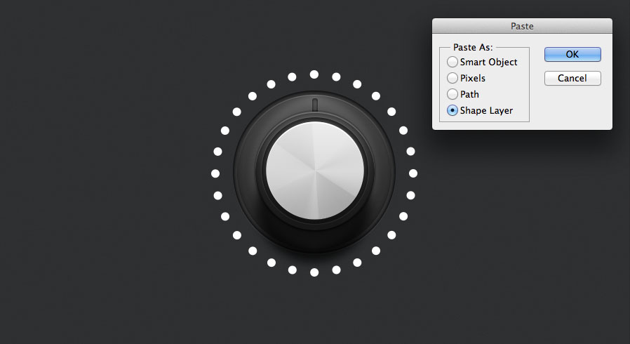 paste the shape back into photoshop from illustrator for the indicator lights for the audio knob tutorial