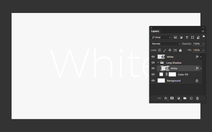 create white on white text with a long shadow in photoshop